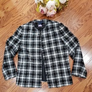 Preston & York Black White Plaid Blazer Plus 14